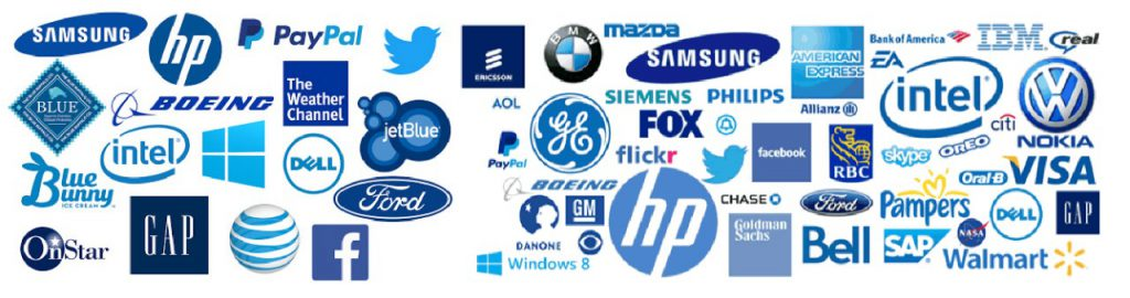 This is the photo of all the companies that have a Blue logo.