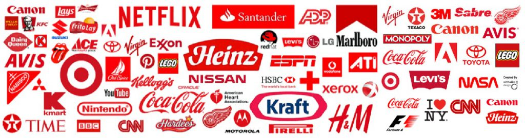 This is the photo of all the companies that have a red logo.